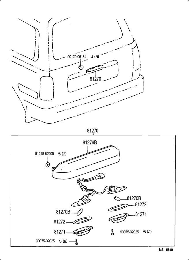 TOYOTA FJ CRUISER Base Gasket, license plate lamp lens