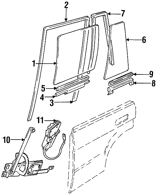 1999 Land Rover Discovery Window Channel (Lower). Body