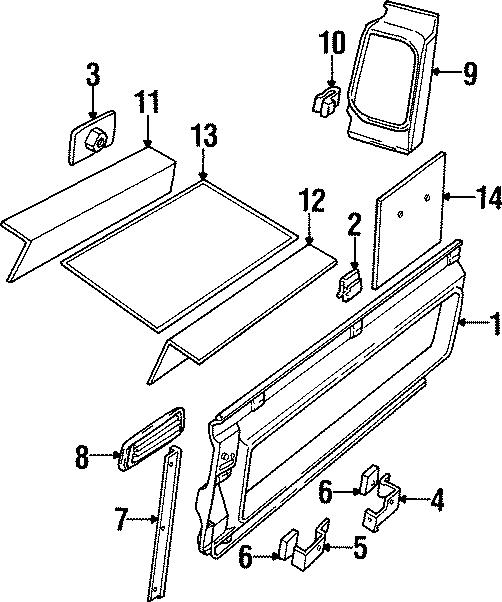 1997 Land Rover Defender 90 Roof ASSEMBLY nut plate. Side