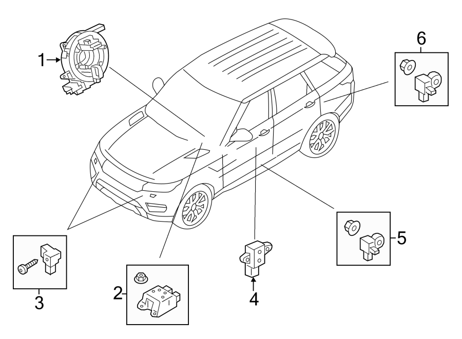 2015 Land Rover Range Rover Sport Air Bag Impact Sensor