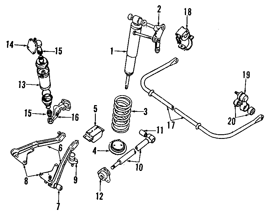 1995 Land Rover Range Rover Height sensor. (Rear). AIR