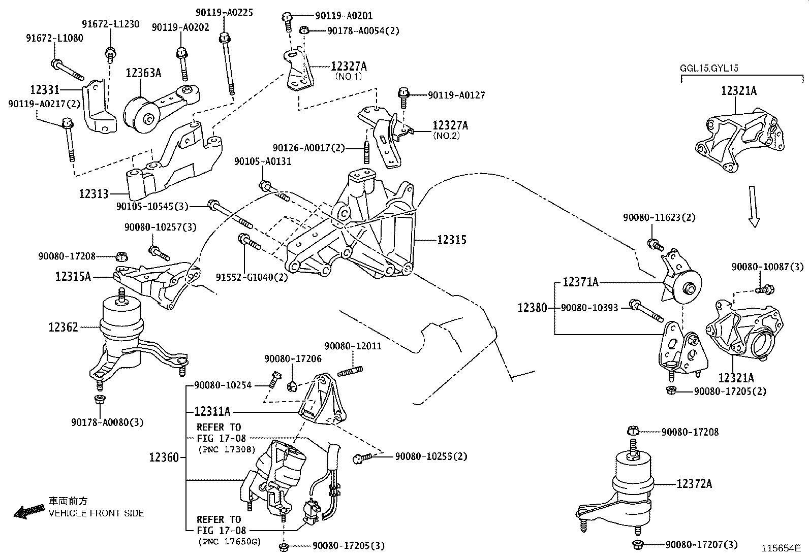 Lexus Bracket Engine Mounting Front For Transverse