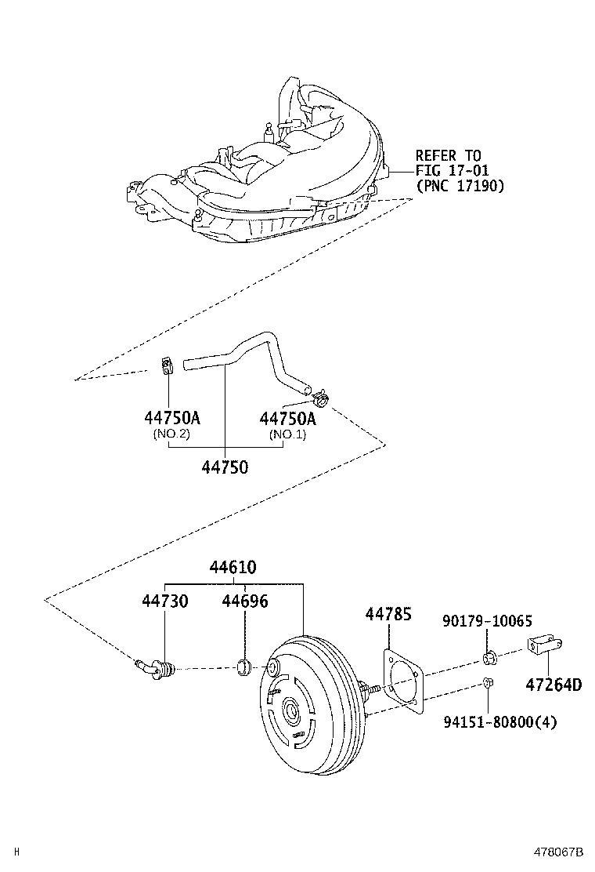 1997 Lexus Brake Vacuum Hose. UNION TO CHECK VALVE; VACUUM