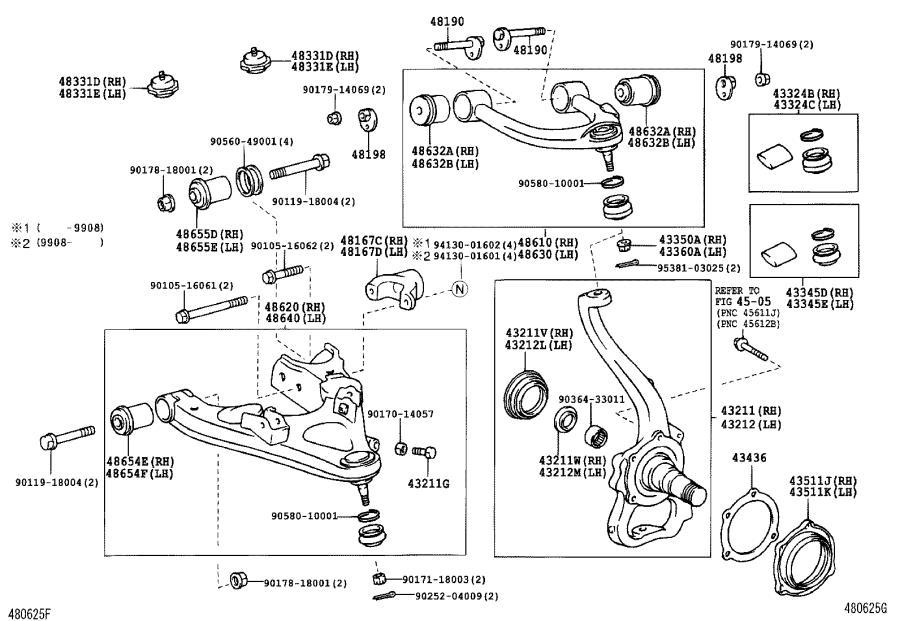 Lexus LX 470 Torsion Bar Adjusting Arm (Left, Front