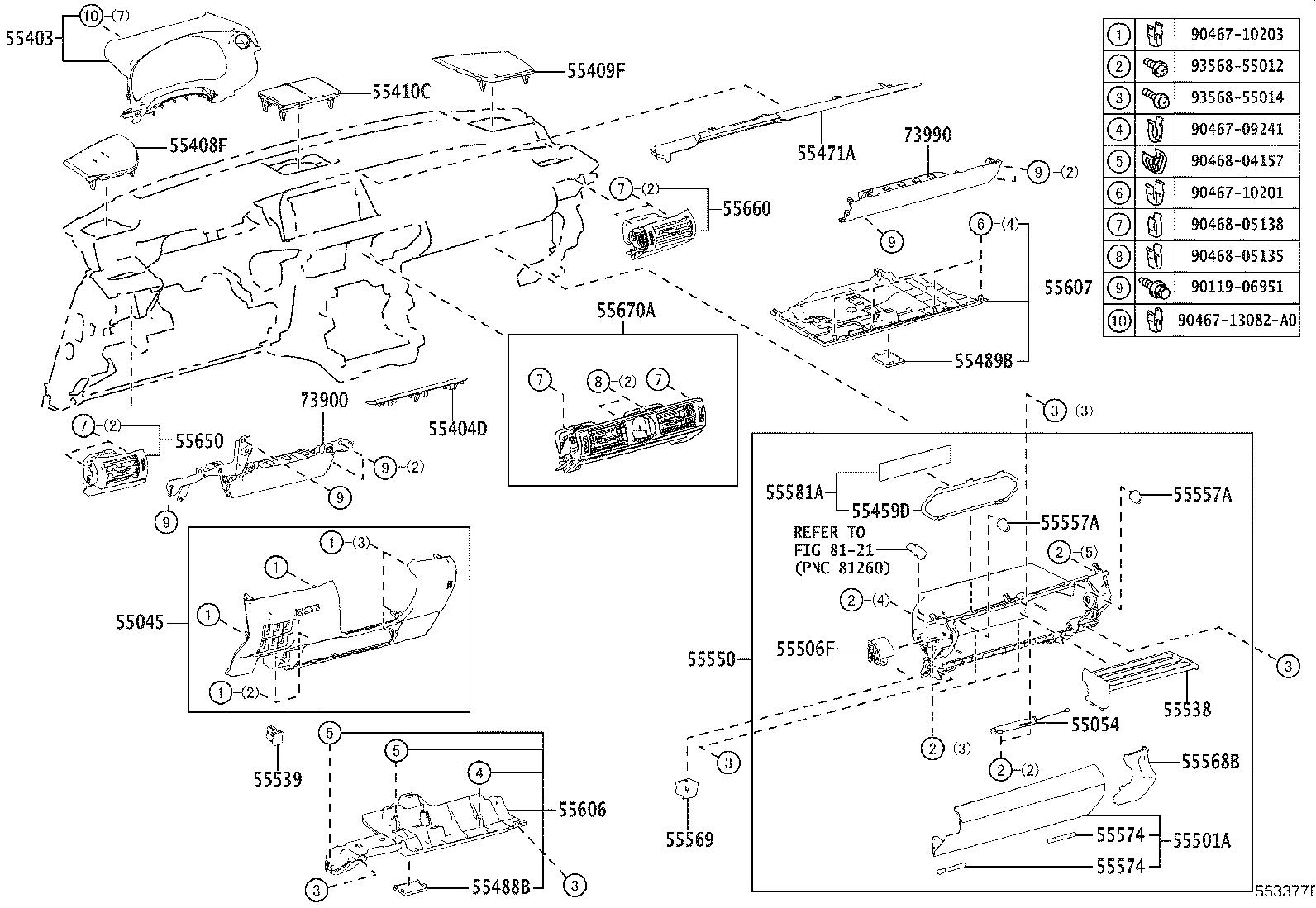 2010 Lexus Pad sub-assembly, instrument panel safety