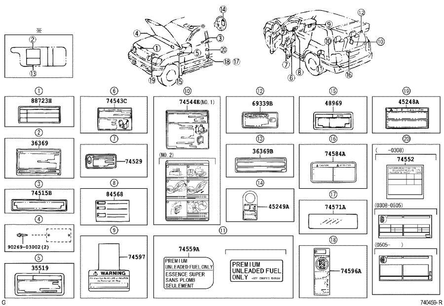 2002 Lexus Engine Decal (Rear). Interior, Body
