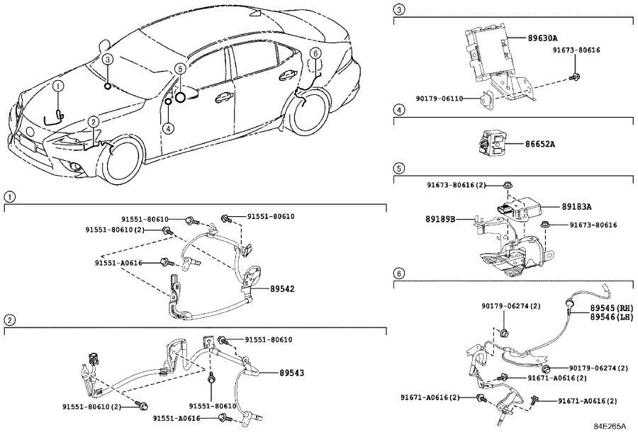 2009 Lexus Abs wheel speed sensor wiring harness (right