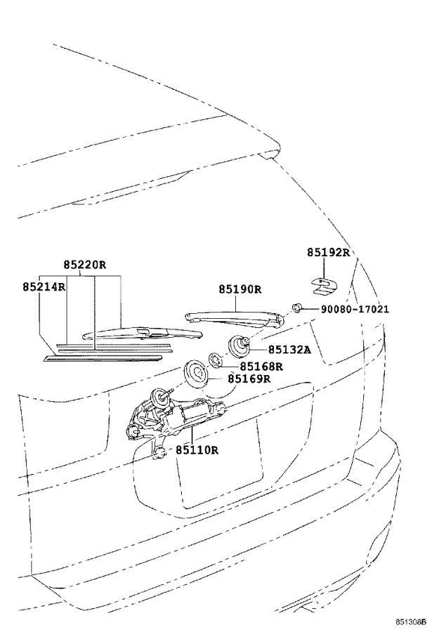 Lexus RX 350 Back Glass Wiper Motor (Rear). Electrical