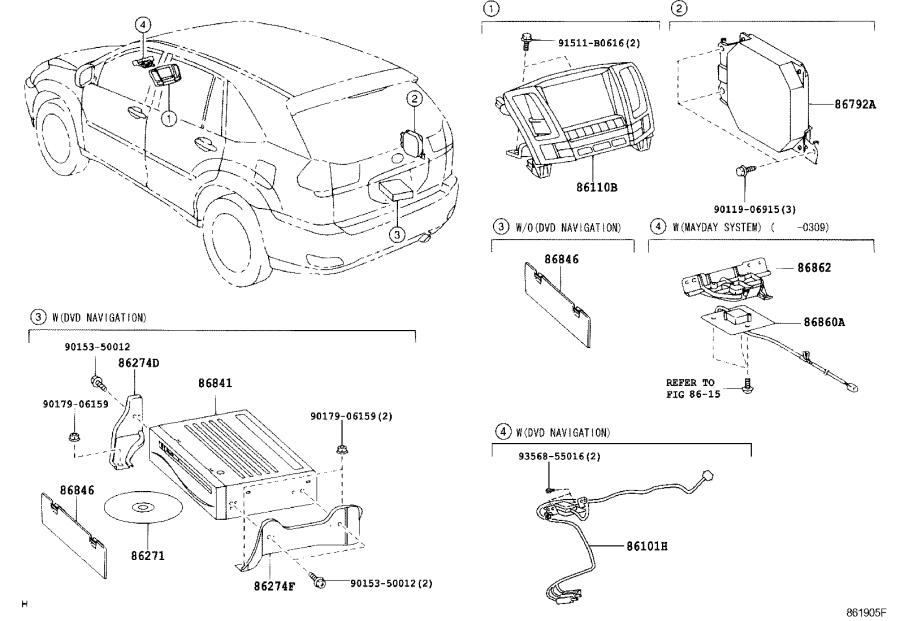 Lexus RX 330 Multi-display assembly. Navigation, dvd