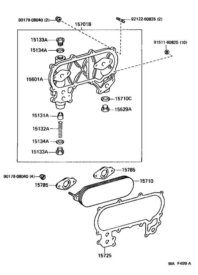 1997 Lexus Gasket. For oil cooler; oil pump relief valve