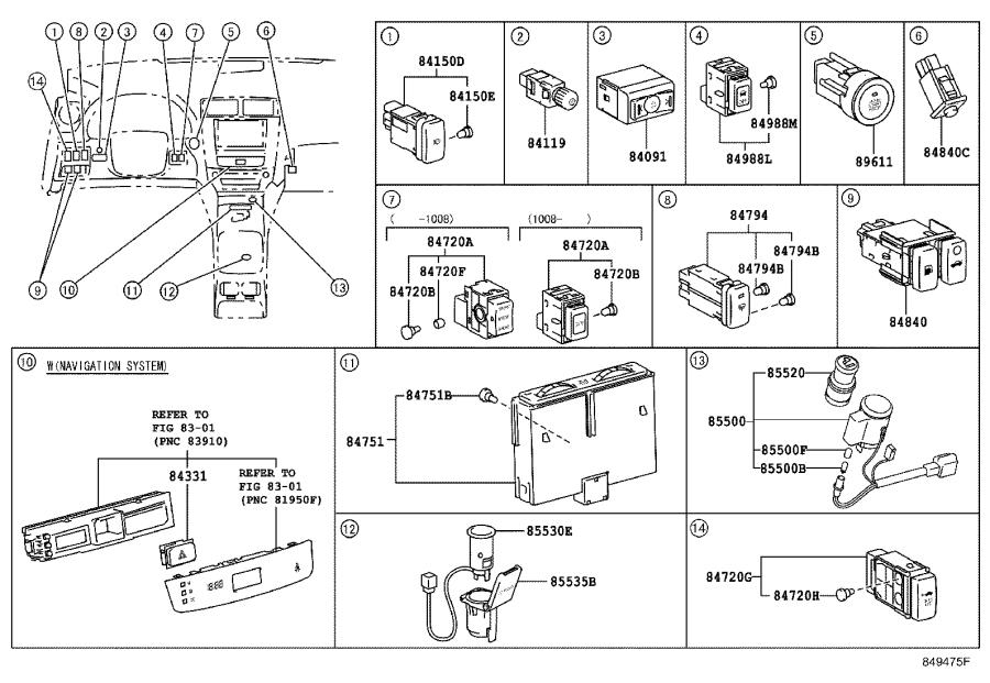 1998 Lexus Block assembly, engine room relay. Panel