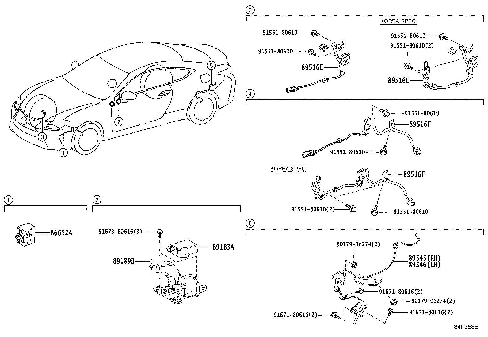 2008 Lexus Abs wheel speed sensor wiring harness (right