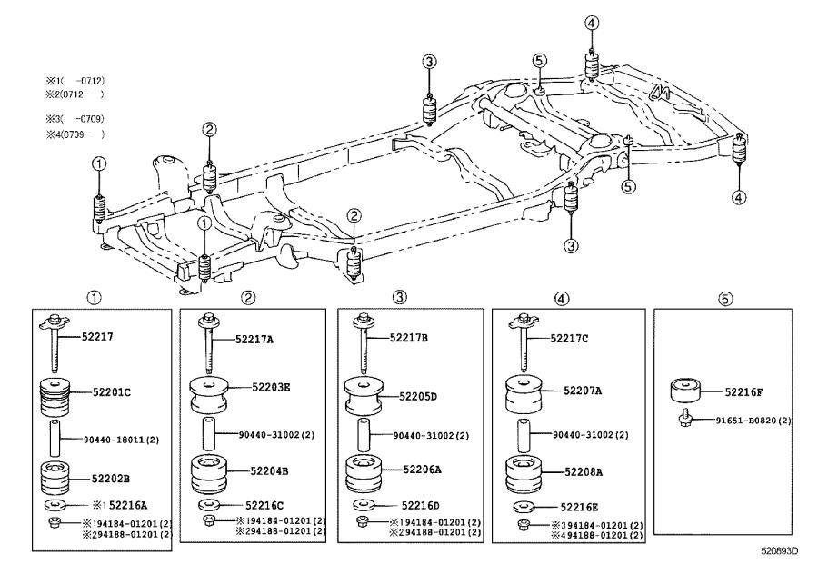 2008 Lexus Cushion sub-assembly, cab mounting, no. 2 lower