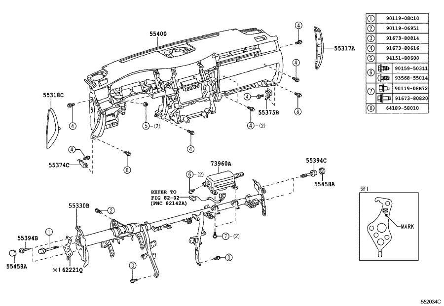 2020 Lexus Moulding sub-assembly, instrument panel. Black