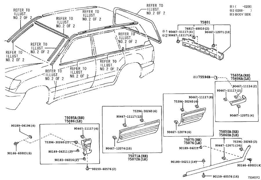 2020 Lexus Door Molding (Right, Front). WHITE PEARL CS