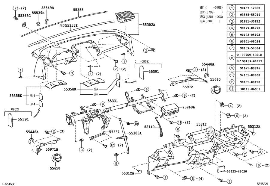2009 Toyota Air Bag Wiring Harness. INSTRUMENT PANEL