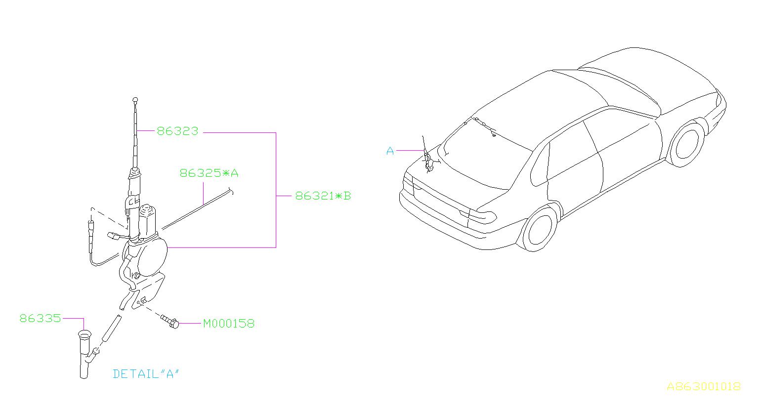 1999 Subaru Legacy Antenna assembly-radio. Auto for sedan
