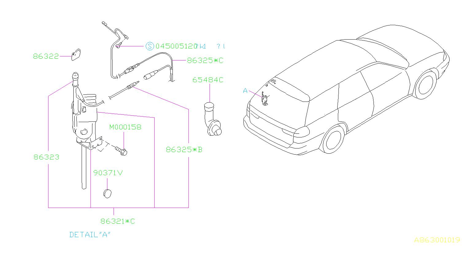 1995 Subaru Legacy Cord assembly-antenna, feeder