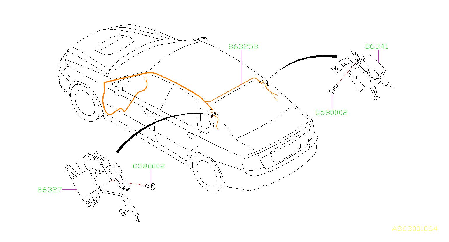 2006 Subaru Outback Cord assembly-antenna feeder