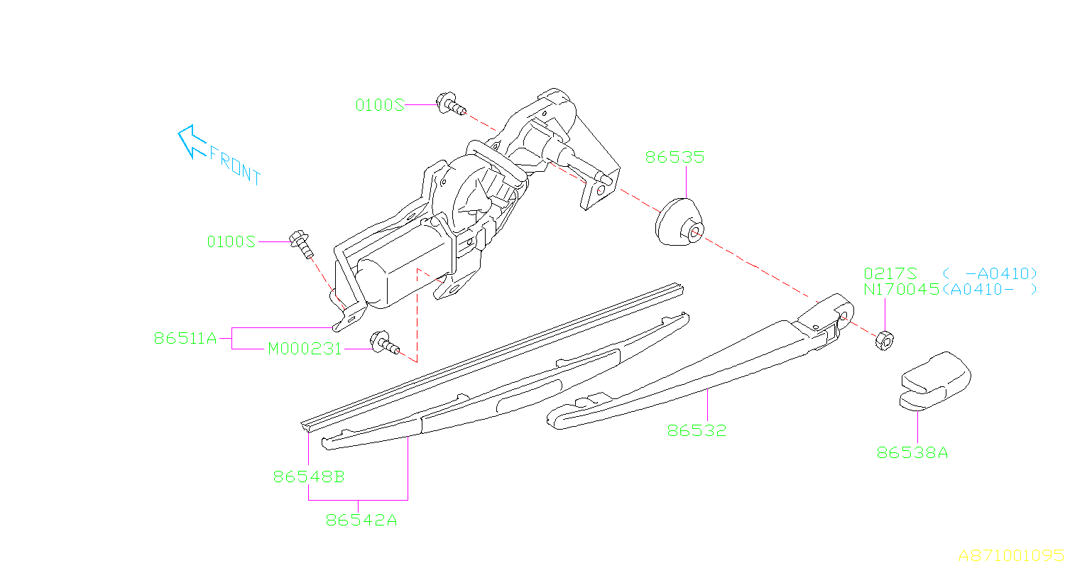 2006 Subaru Legacy Blade assembly-rear wiper. Maintenance
