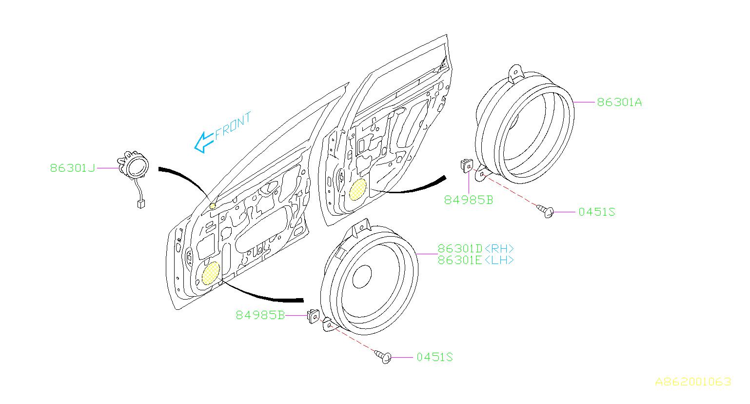 2009 Subaru STI Speaker assembly-rear. Electrical, clarion