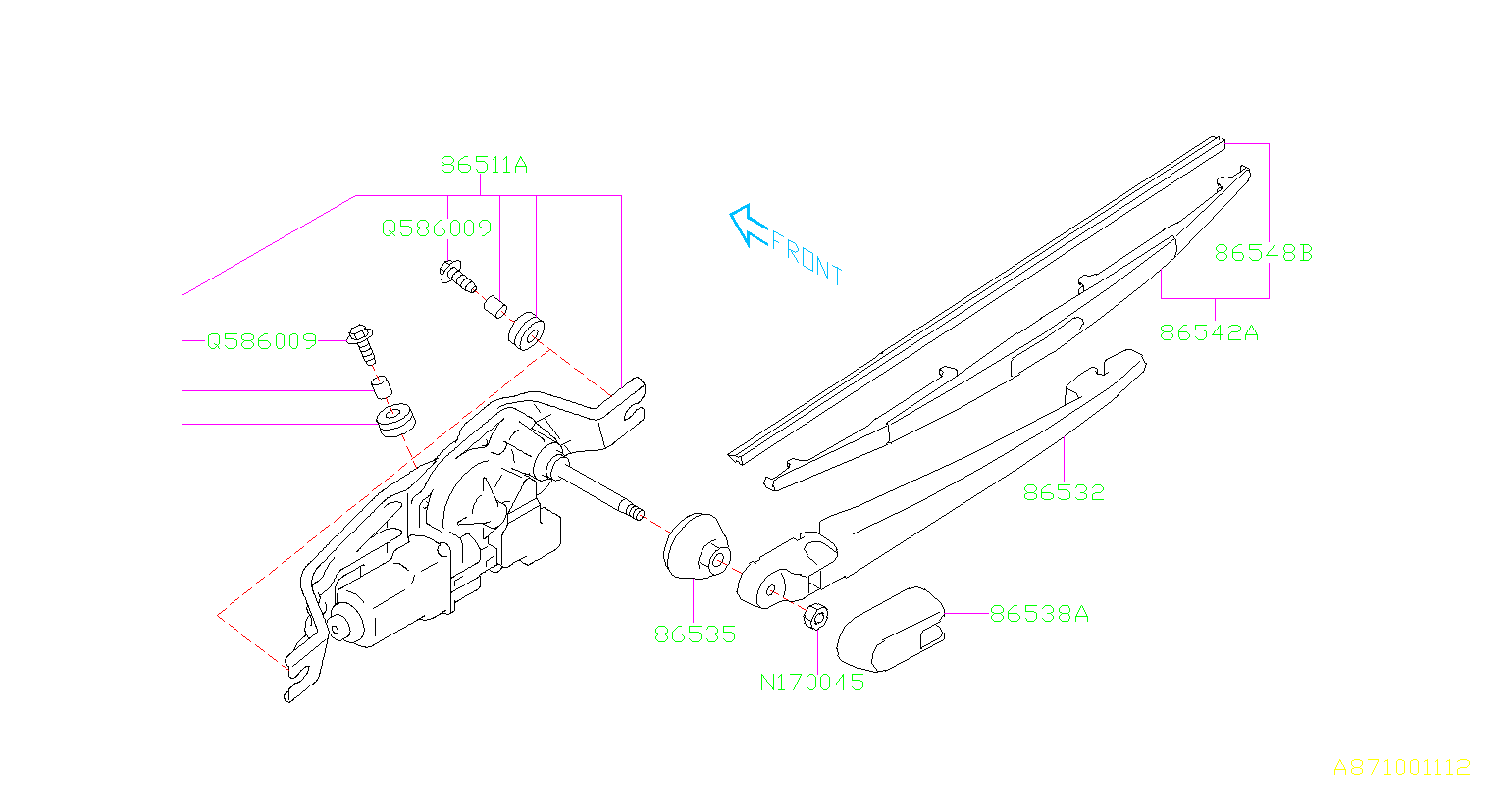 2008 Subaru WRX Blade assembly-rear wiper. Maintenance