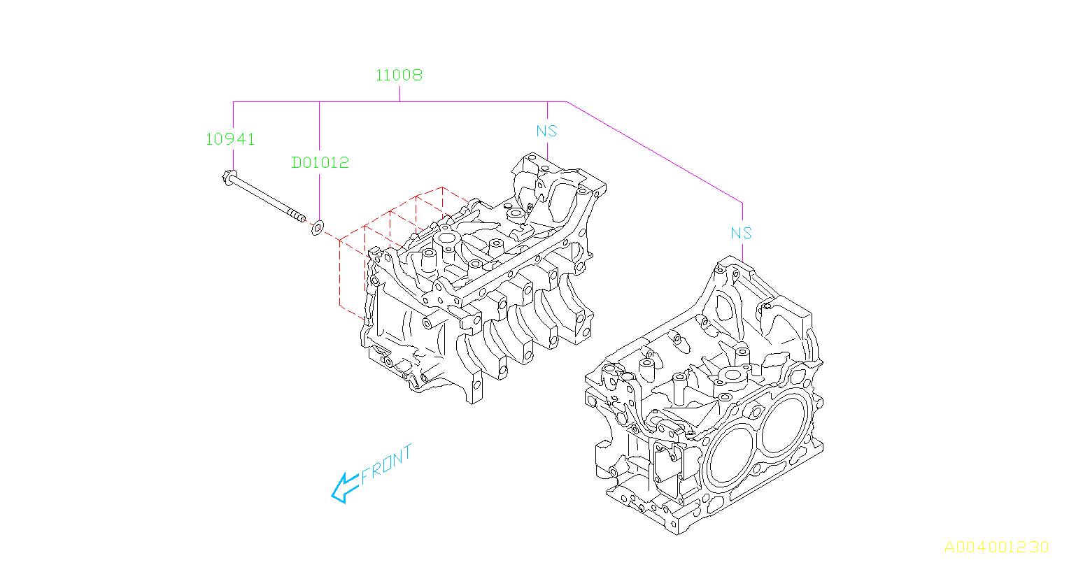 2013 Subaru BRZ Engine Crankshaft Main Bearing Cap Bolt