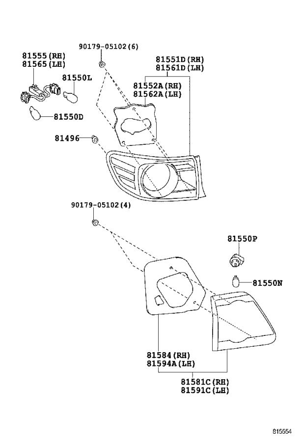 Toyota Corolla Tail Light Harness (Left, Right, Rear