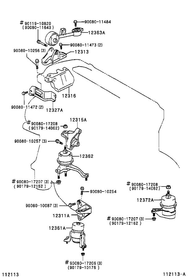 Toyota Camry Insulator. Engine mounting, front; engine