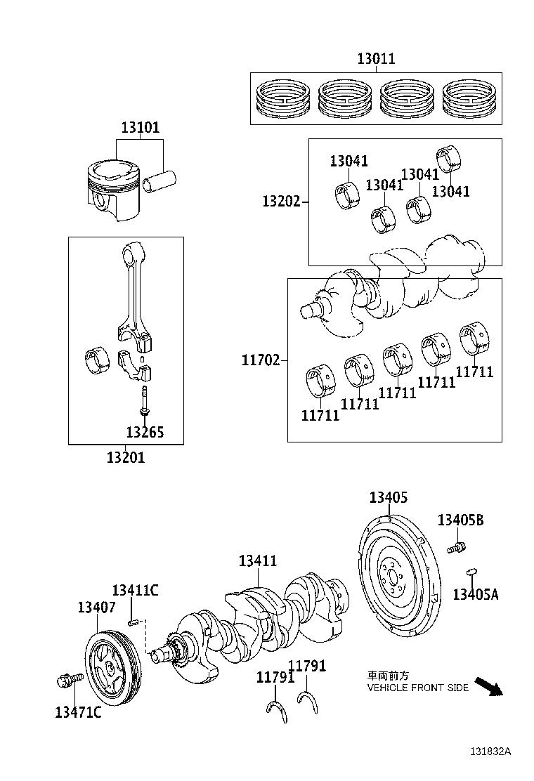 Toyota Prius c Damper sub-assembly, crankshaft. Engine