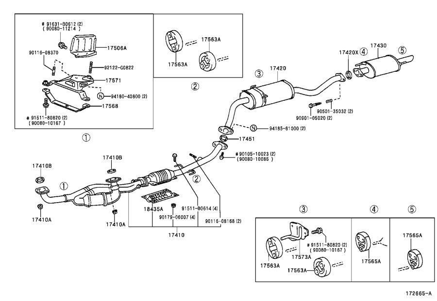 Toyota Sienna Pipe assembly, exhaust, center. Engine