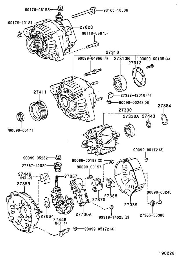 Toyota Corolla Alternator assembly. Remanufactured