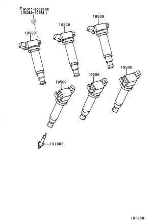Toyota Sienna Spark Plug Wire Set Cord Set, Coil and Spark, with RESISTIVE  1903720011