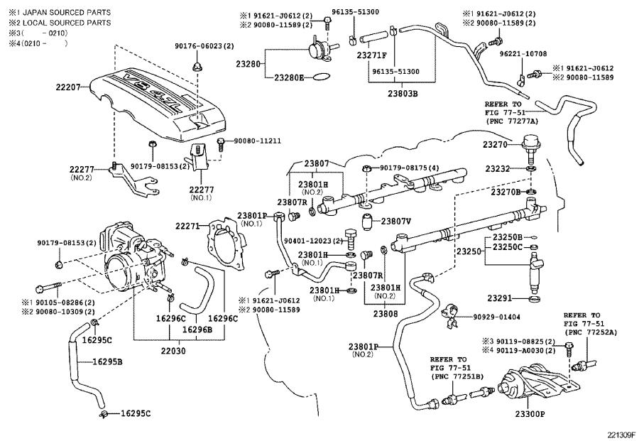 Toyota Tundra Pipe sub-assembly, fuel. System, injection