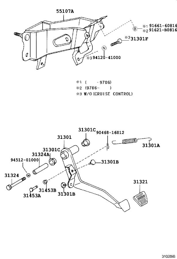 Toyota Tacoma Support sub-assembly, clutch pedal