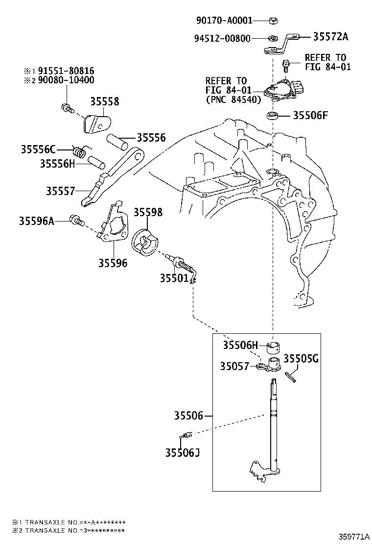 Toyota Highlander Lever sub-assembly. Manual valve; manual