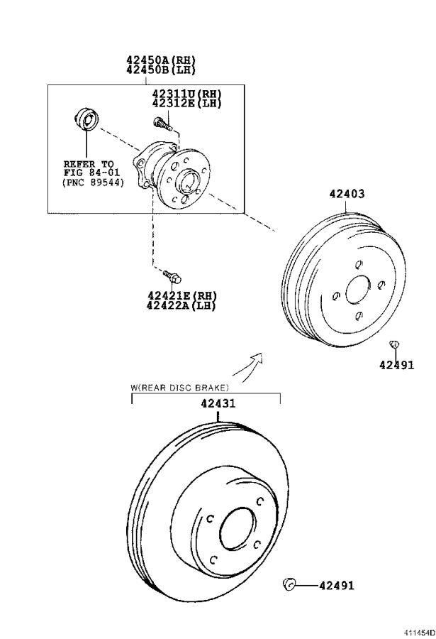 Toyota Camry Wheel Bearing and Hub (Left, Right, Rear