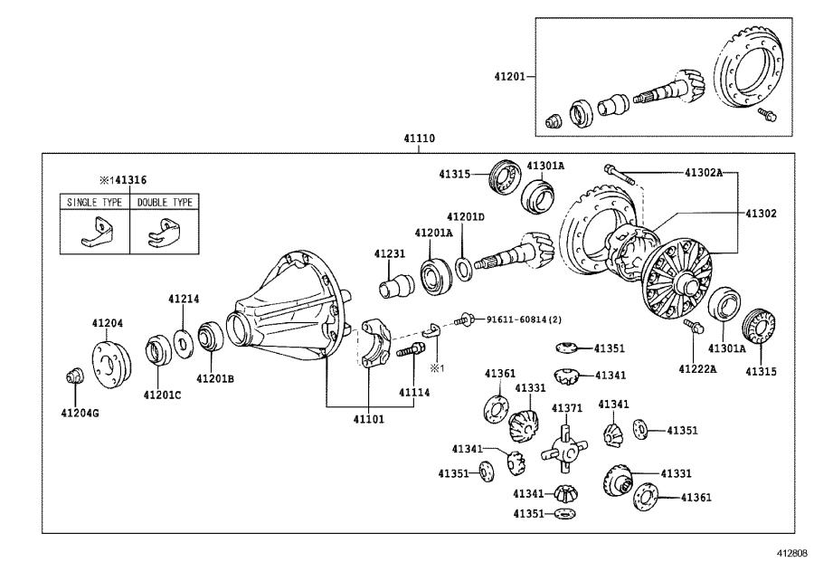 Toyota Land Cruiser Carrier sub-assembly, differential