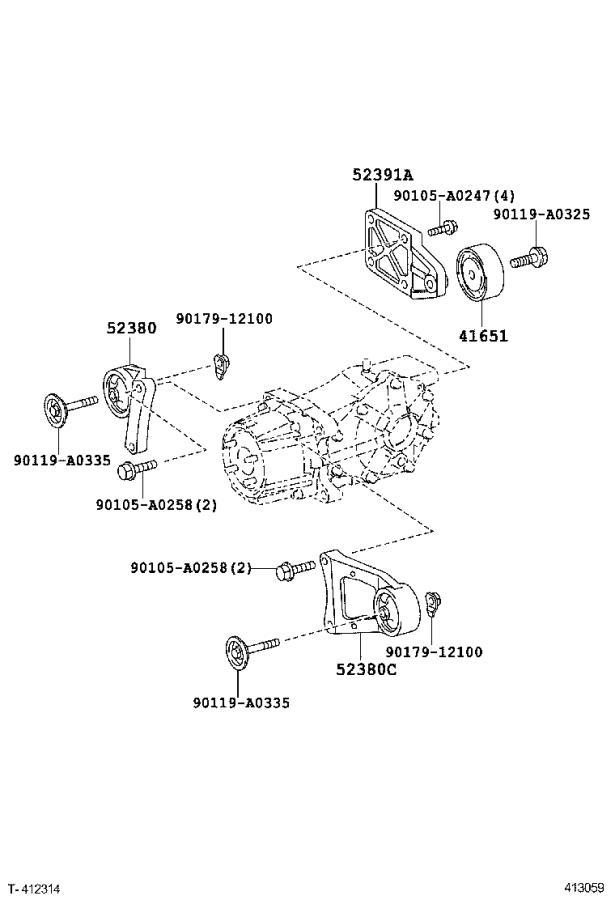 Toyota RAV4 Support, rear differential, no. 2. Brakes
