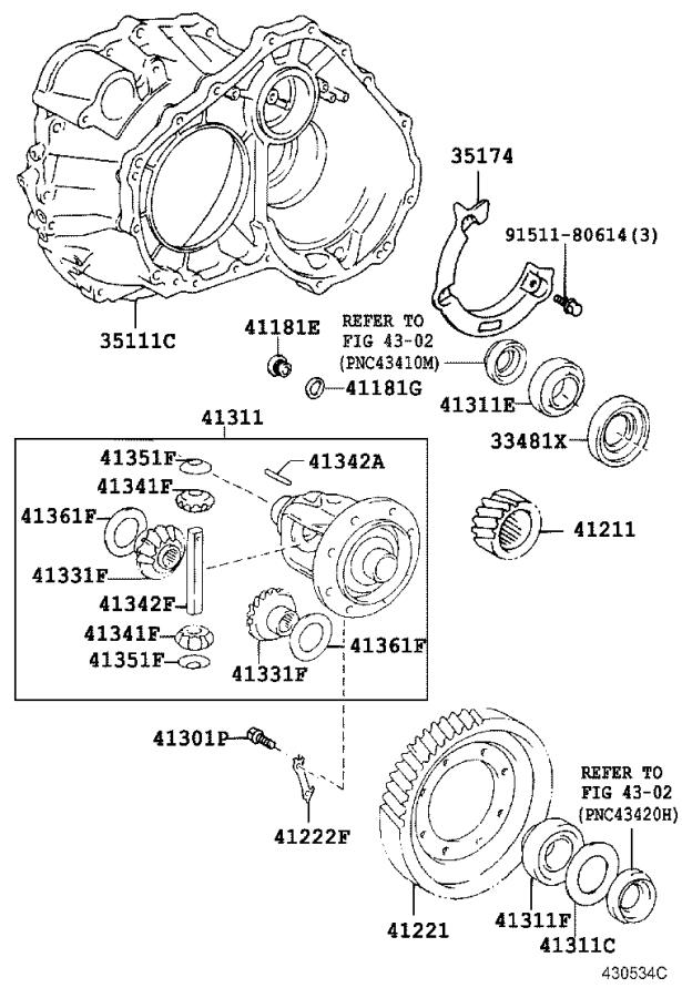Toyota Celica Housing, transaxle. Differential, brakes