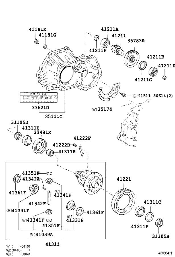Toyota Matrix Pinion, differential drive. Brakes, axle