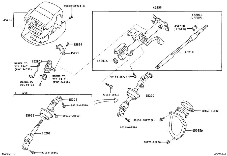 Toyota Camry Steering Column Cover. Component, Brakes