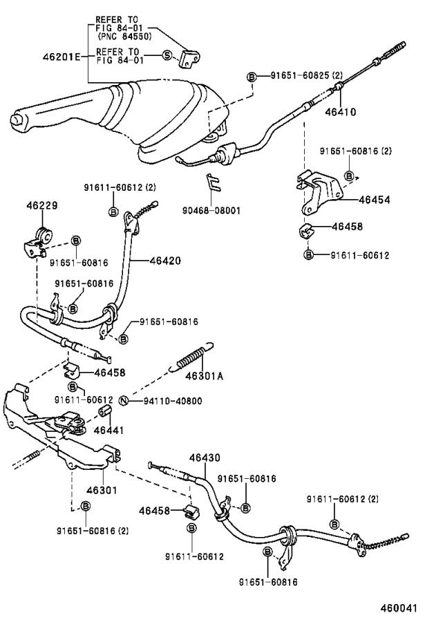 Toyota Previa Parking Brake Cable. Replace, Assembly