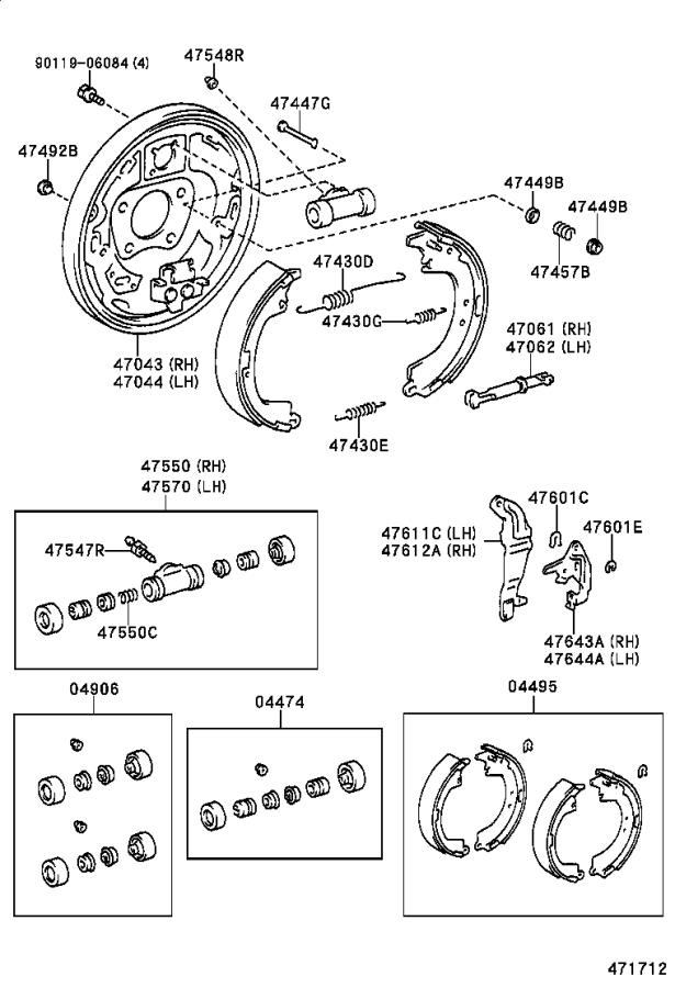 Toyota Camry Drum Brake Wheel Cylinder (Right, Front, Rear