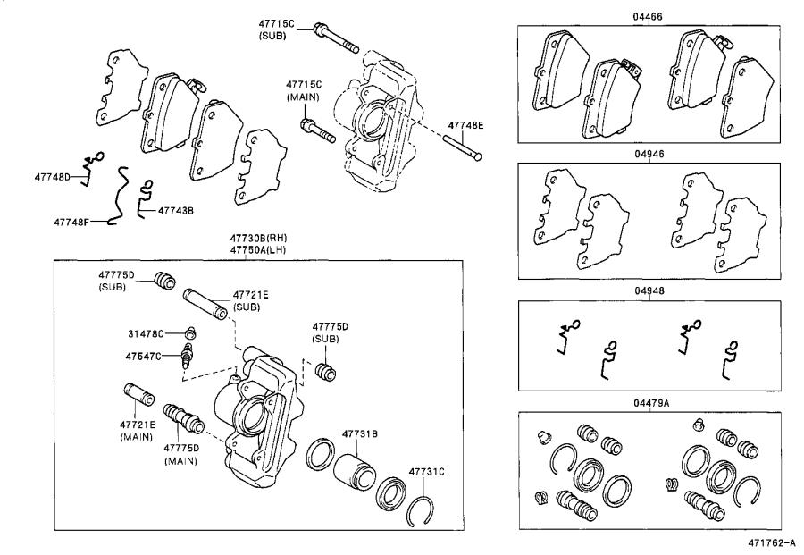 Toyota Celica Disc Brake Caliper Repair Kit (Rear