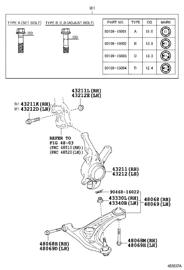 Toyota Yaris Suspension Control Arm (Left, Front, Lower