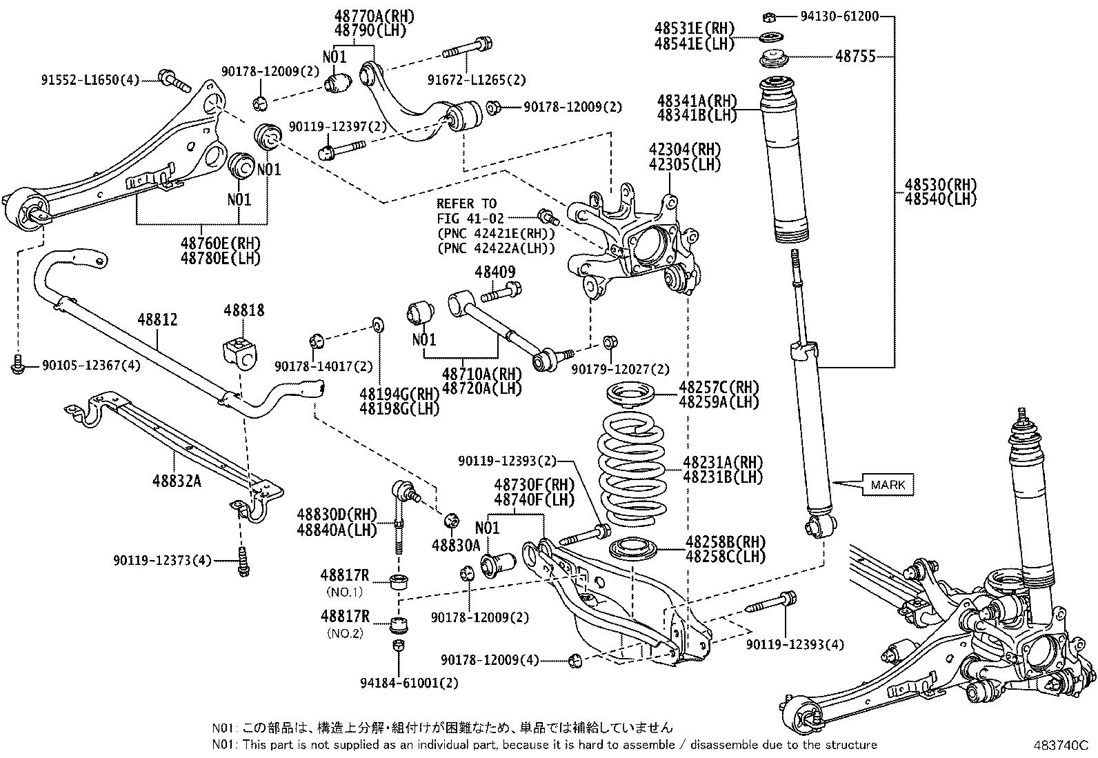 Toyota Corolla Im Carrier Sub Assembly Rear Axle Right