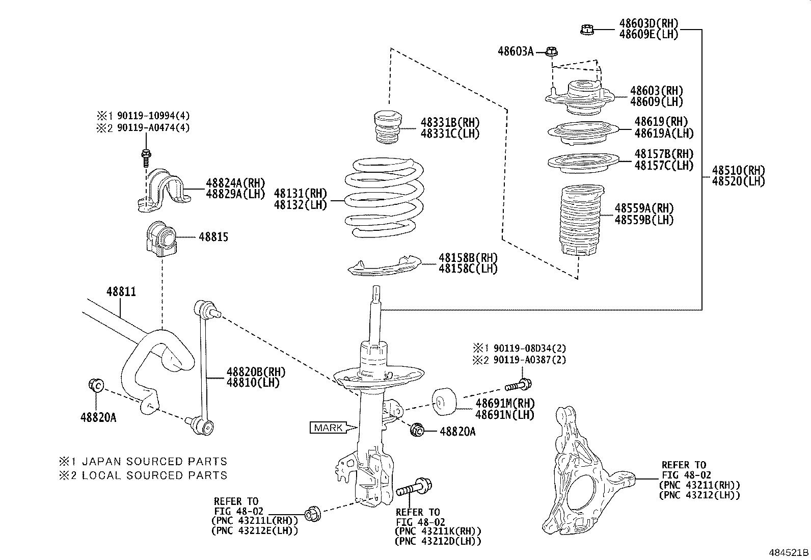 Toyota Camry Spring. Front coil, left; front coil, right