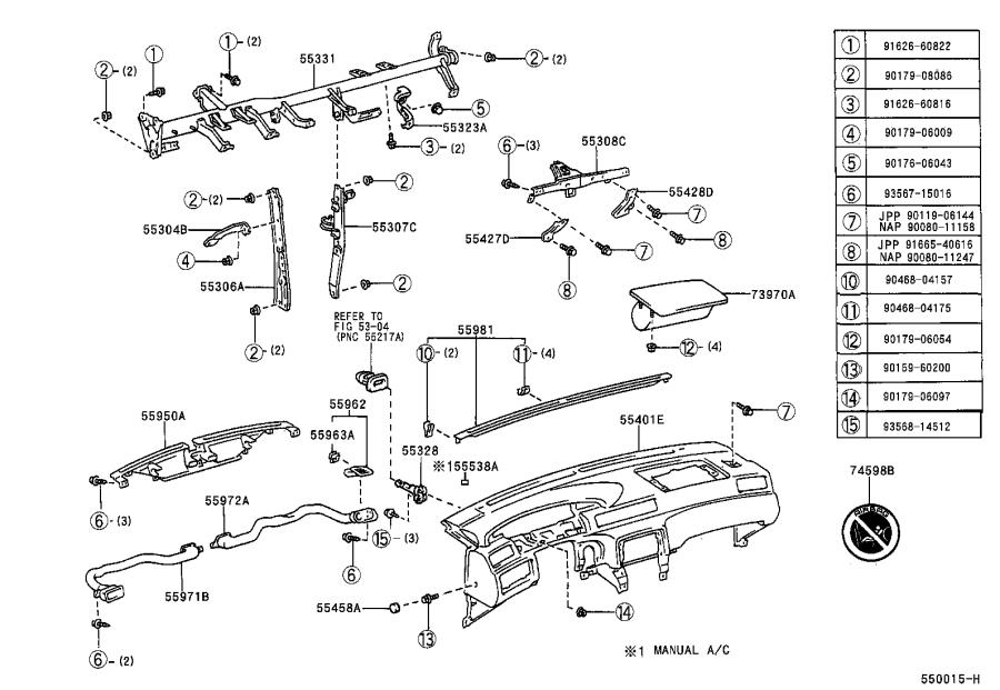Toyota Camry Register assembly, instrument panel, no. 1
