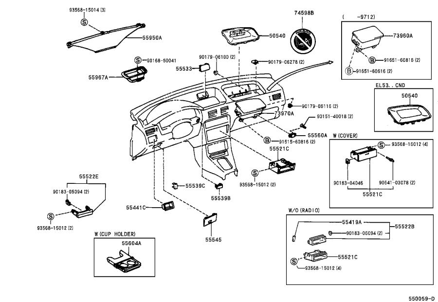 Toyota Tercel Holder sub-assembly, instrument panel cup